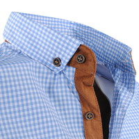 New Republic  Megaman - Men's Shirt - Slimfit - With Elbow patches and Suede details - Checkered - light blue
