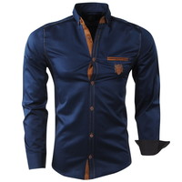 New Republic  Megaman - Men's Shirt - Slimfit - With Elbow patches and Suede details -  Navy