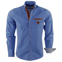 New Republic  Megaman - Men's Shirt - Slimfit - With Elbow patches and Suede details - Checkered - Navy