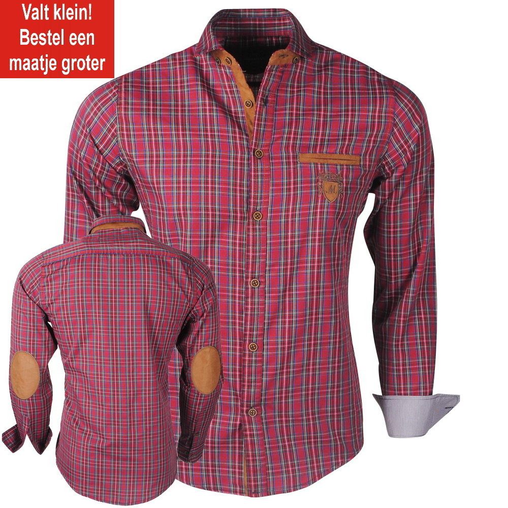 New Republic  Megaman - Men's Shirt - Slimfit - With Elbow patches and Suede details - Checkered - Bordeaux