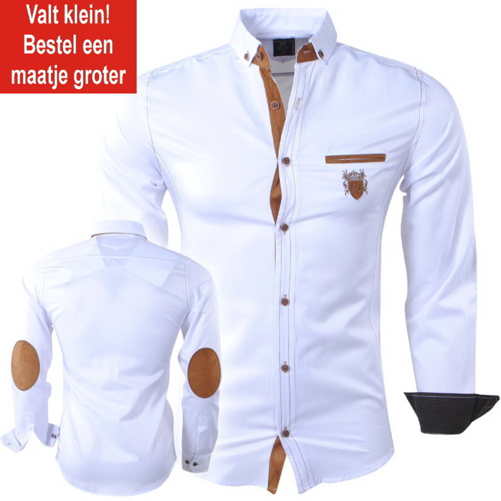 New Republic  Megaman - Men's Shirt - Slimfit - With Elbow patches and Suede details - White