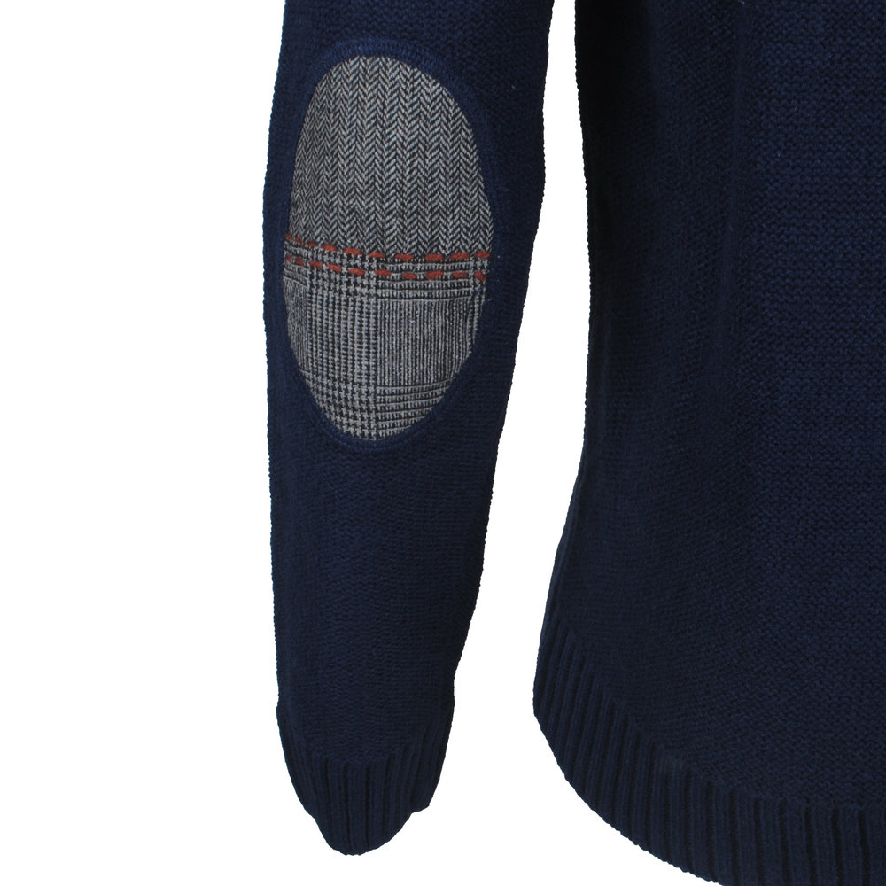 New Republic Consenso - Men's Pullover - Elbow Patches - Wool Blend - Navy