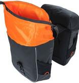 Basil dubbele tas Miles Tarpaulin zwart oranje