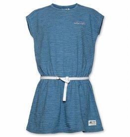 Ao76 Ao76 jurk met ceintuur blauw