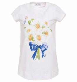 Monnalisa Monnalisa T shirt margriet wit