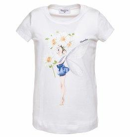 Monnalisa Monnalisa T shirt meisje margriet wit