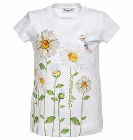 Monnalisa Monnalisa T shirt stengels margriet wit