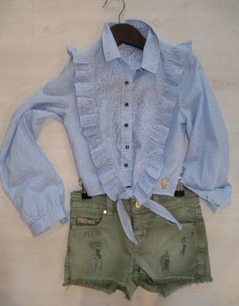 An Coorevits An Coorevits blouse blauw wit