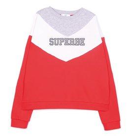 Le temps de cerises sweater rood/wit