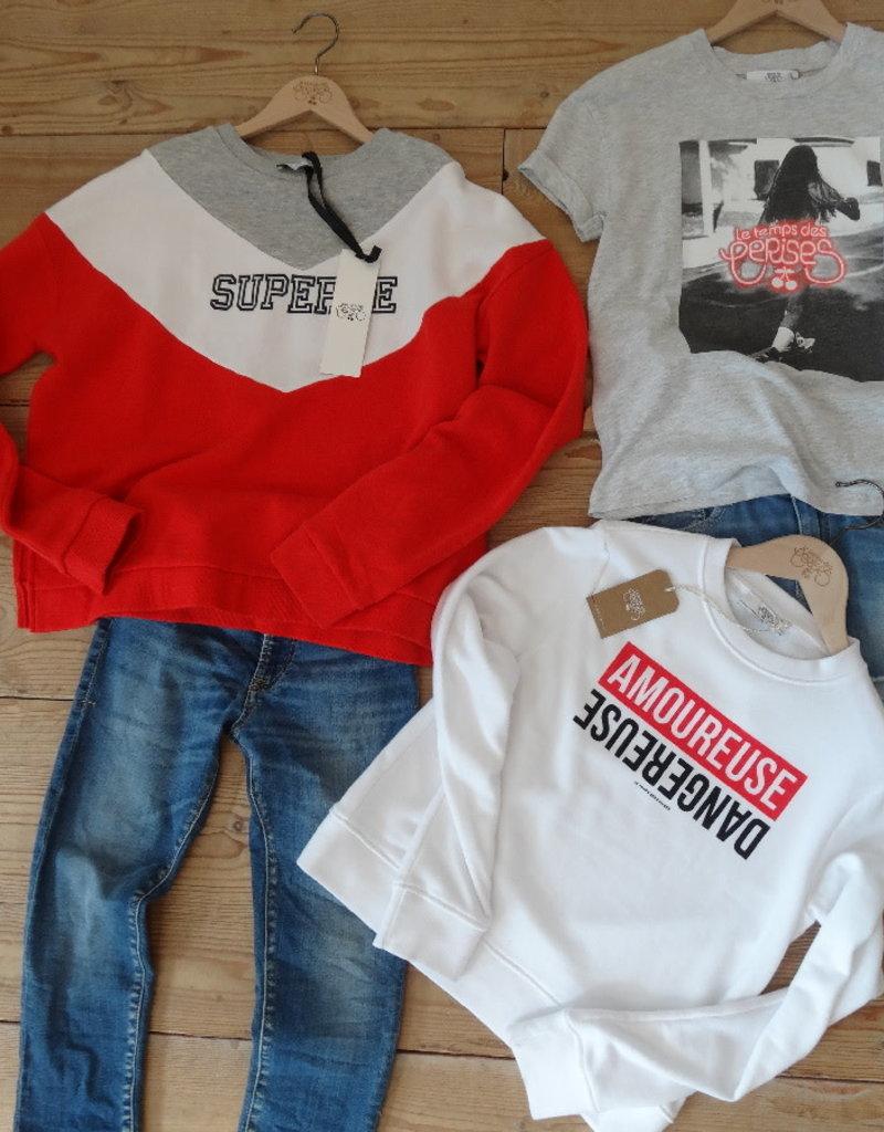 Le temps de cerises Le temps de cerises sweater rood/wit
