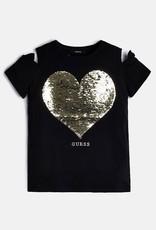 GUESS Guess t shirt zwart hartje goud