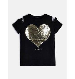Guess t shirt zwart hartje goud