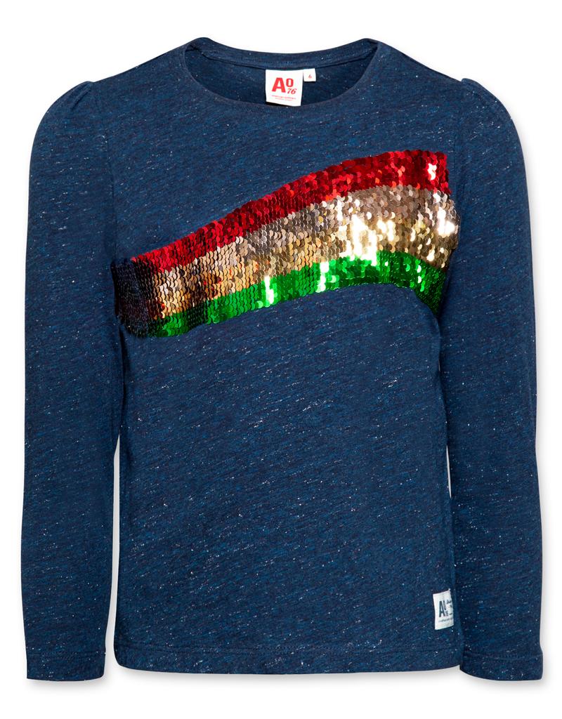 Ao76 t shirt blauw regenboog