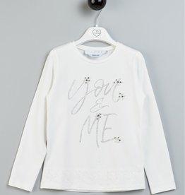 T LOVE t shirt ecru grijs