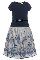 Monnalisa jurk blauw ecru bloemen