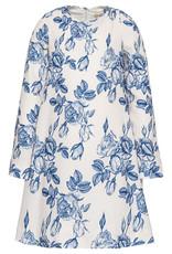 Monnalisa jurk bloem ecru blauw