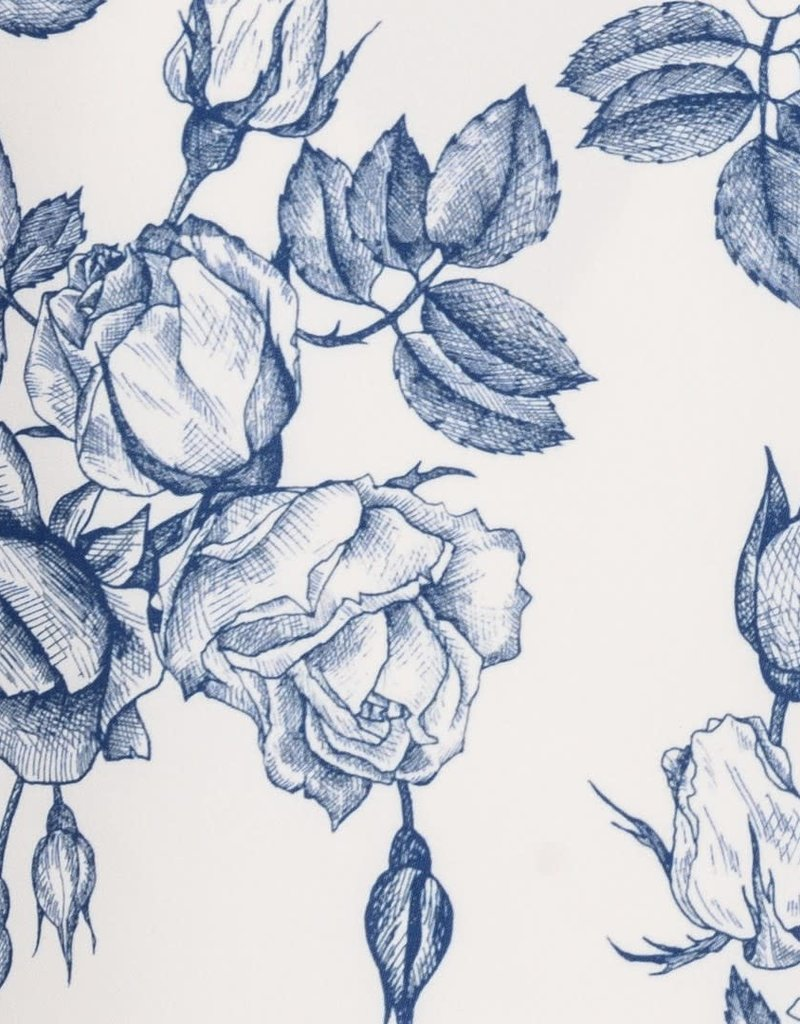 Monnalisa top bloemen ecru blauw