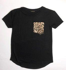 Guess t shirt zwart zakje luipaard