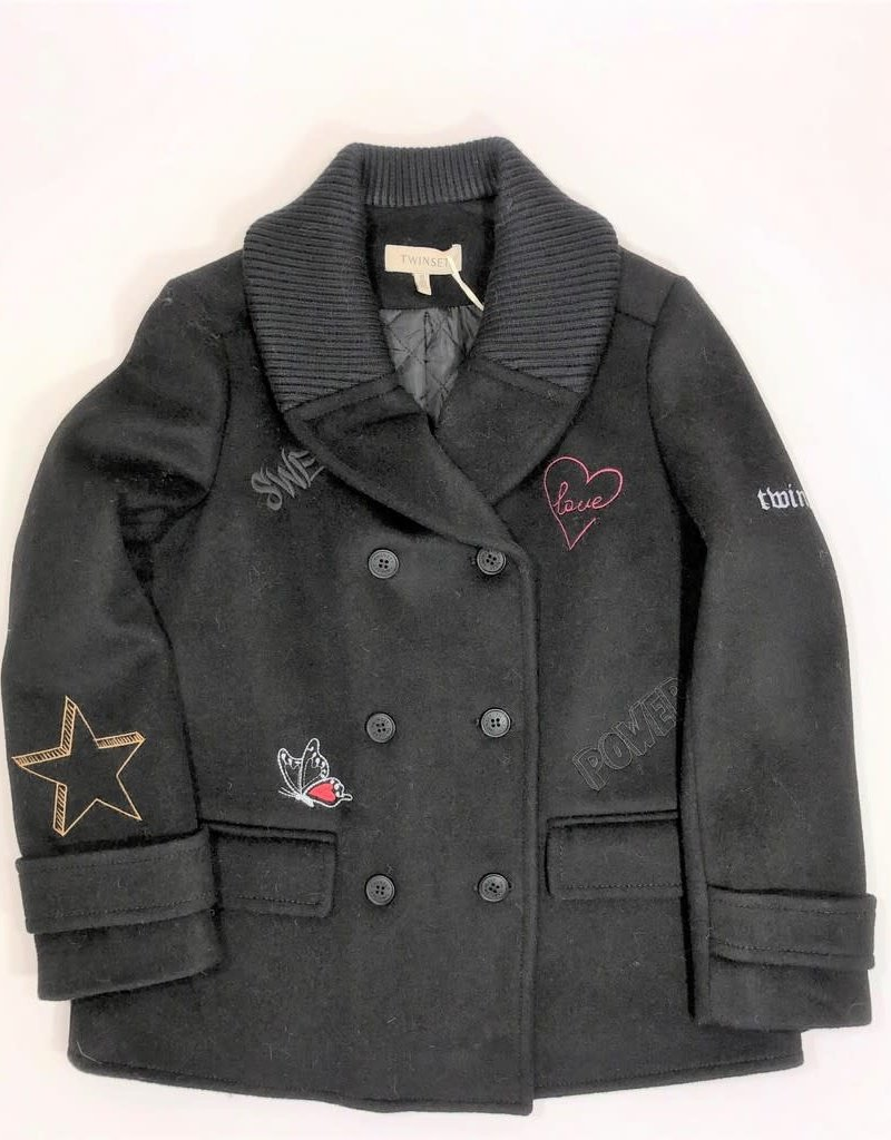 Twinset jas  zwart opdruk
