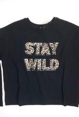 Monnalisa t shirt stay wild zwart