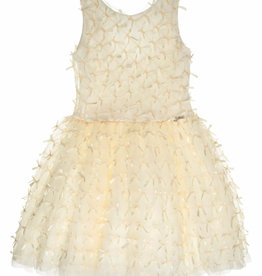 Gymp jurk ecru + strikken ivoor-MUZE