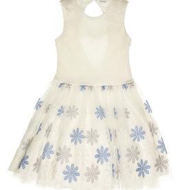 Gymp jurk ecru bloemen licht blauw strik achter Elly