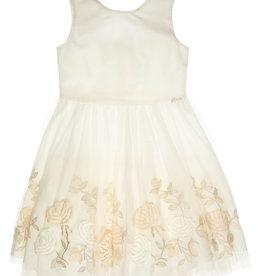Gymp jurk ecru tule bloemen rozen goud Elfriede