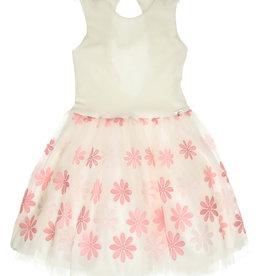 Gymp jurk ecru bloemen roze strik achter Elly