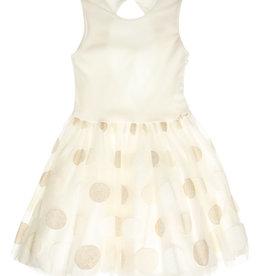 Gymp jurk ecru goud bollen tule Elizee