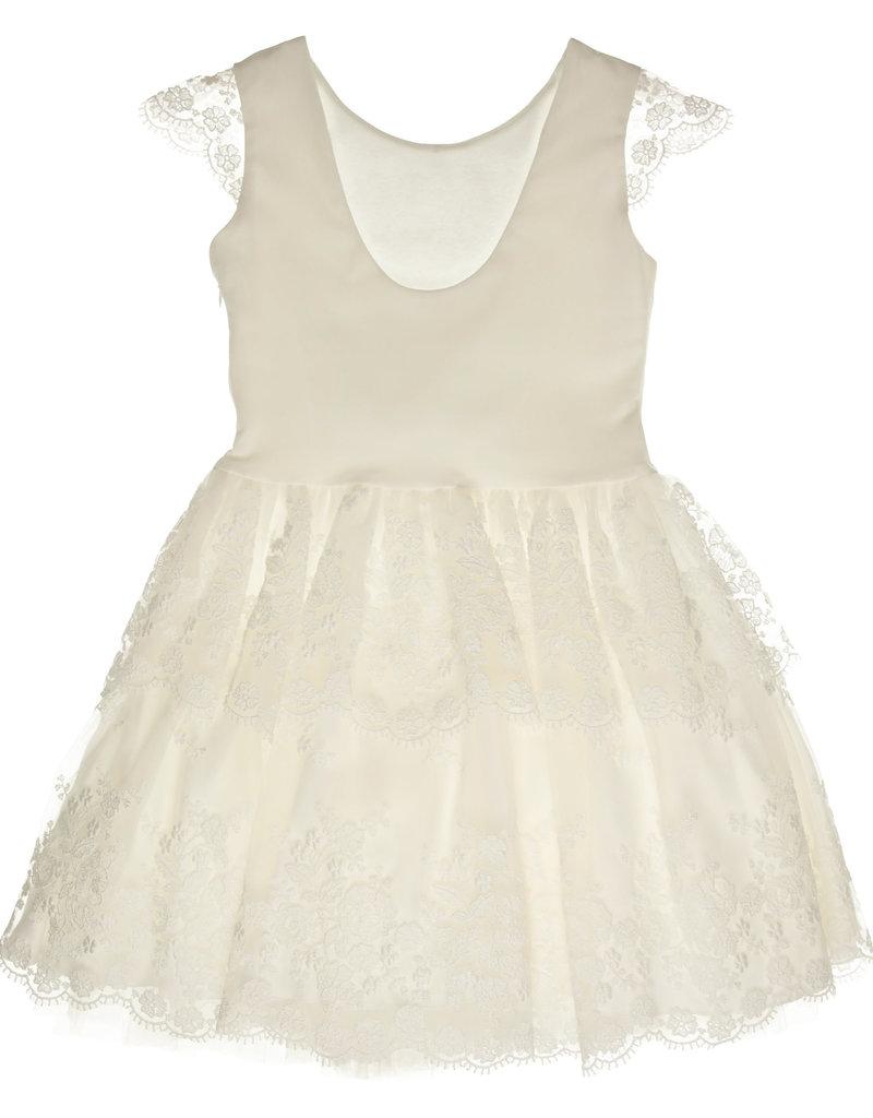 Gymp jurk ecru kant onder + kapmouw-FLOUNCES