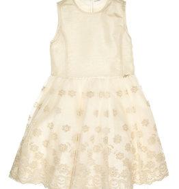 Gymp jurk goud ecru bloemen  Ele