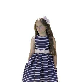 Mimilu jurk streep blauw wit ceintuur wit