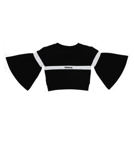 Monnalisa T-shirt sweater zwart streep wit glitter