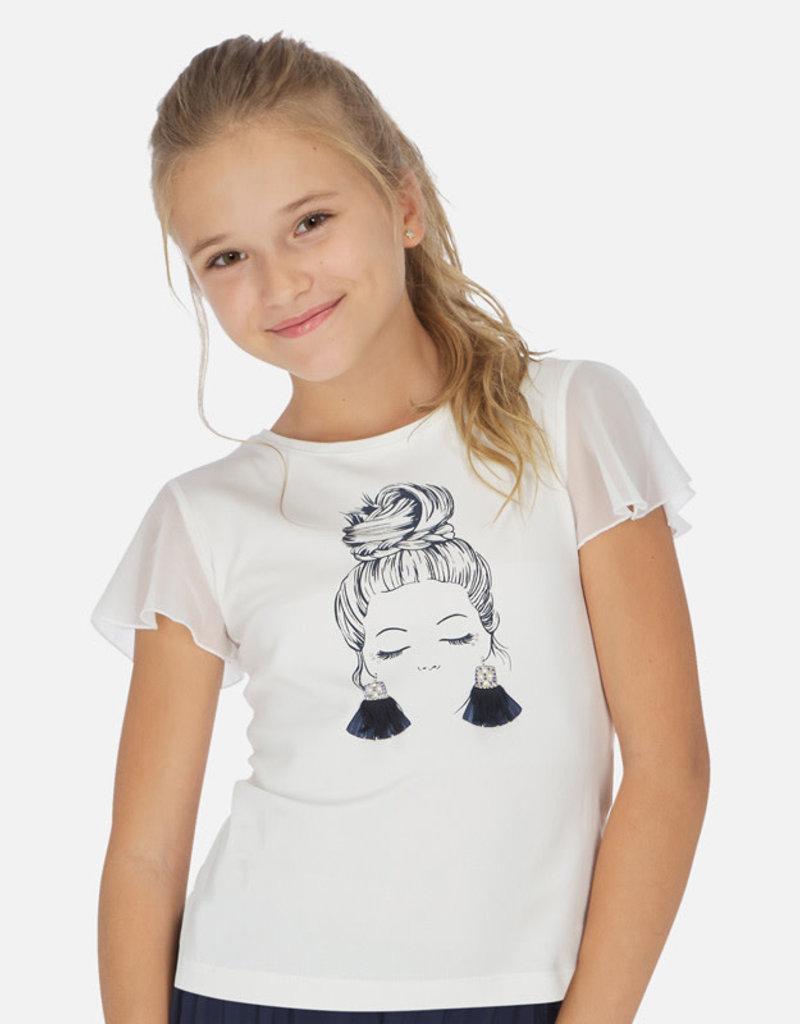 Mayoral T-shirt wit meisje oorbellen