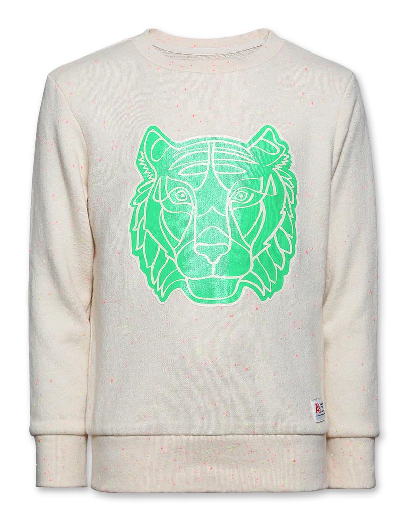 Ao76 sweater ecru tijger fluo green