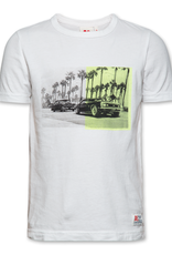 Ao76 T-shirt wit car geel