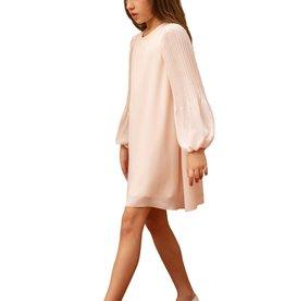 Aletta jurk mouw lang plissé zalm nude