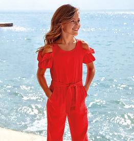Mayoral jumpsuit rood offshoulder