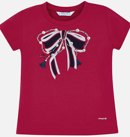 Mayoral T-shirt rood met strik