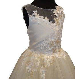 Linea Raffaëlli 508 jurk ecru goud kant + tule onder bloemetjes goud ecru