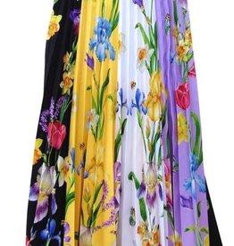 Elsy rok lang fleurig geel zwart paars