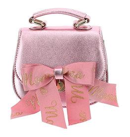 Monnalisa tas licht roze glans strik