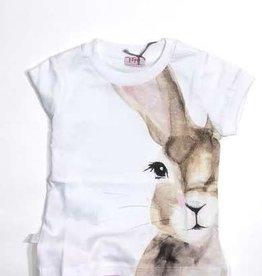 Il Gufo T-shirt konijn wit + biege