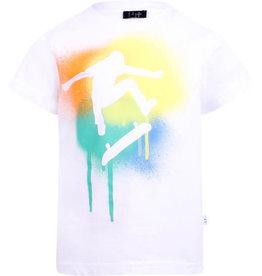 Il Gufo T-shirt wit skater kleur