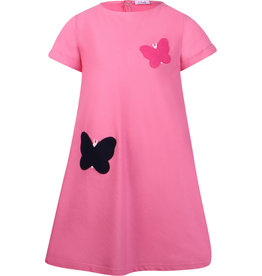 Il Gufo jurk zacht roze vlinders