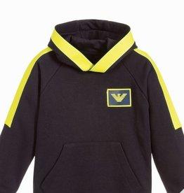 Armani sweater hoodie kap blauw geel fluo