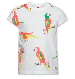 Ao76 T-shirt wit papegaaien fluo