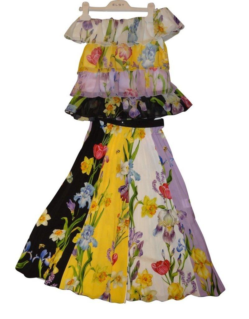 Elsy top ruches fleurig zwart geel paars