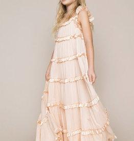Twinset jurk lang nude volants