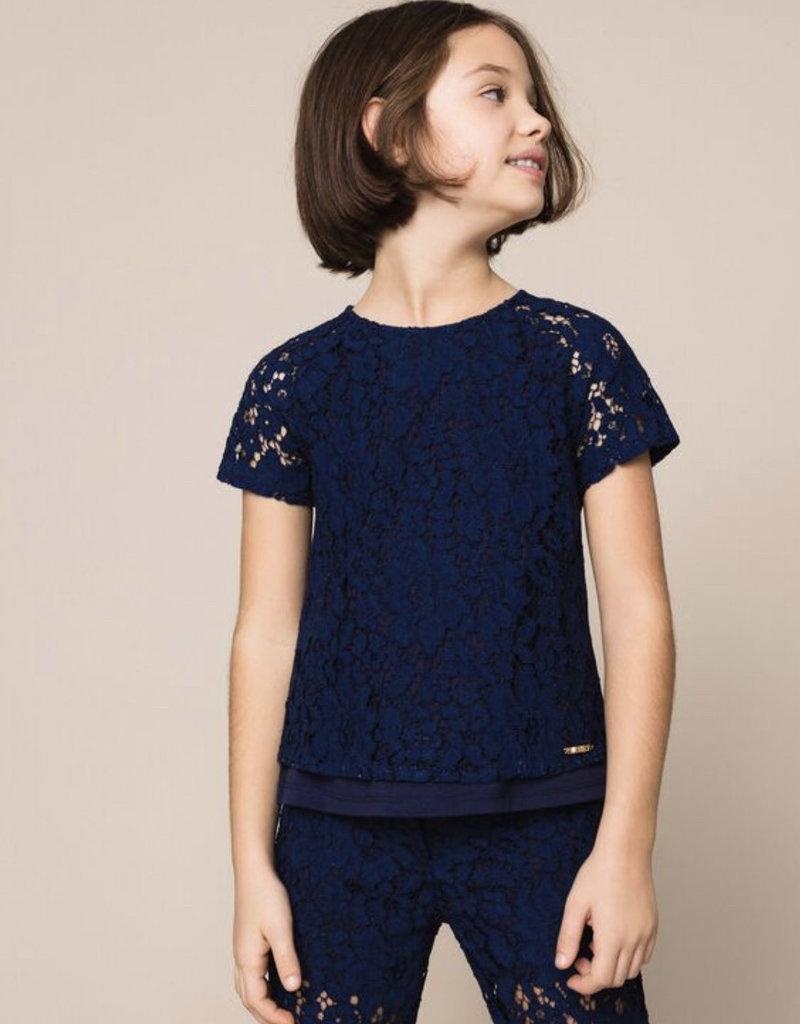 Twinset t-shirt cobalt blauw kant